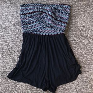 Black Romper With Colorful Elastic Top